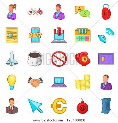 Work flow icons set. Cartoon set of 25 work flow vector icons for web isolated on white background