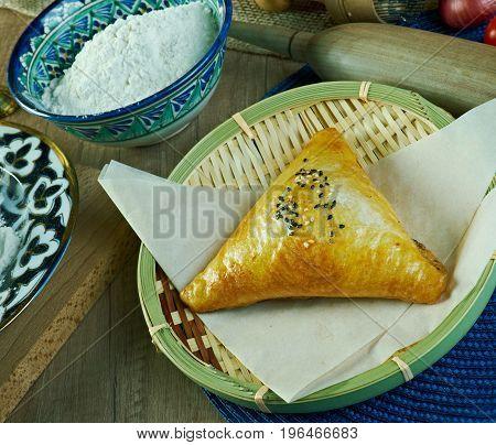 Uzbek samsa pie. close up  asian snack