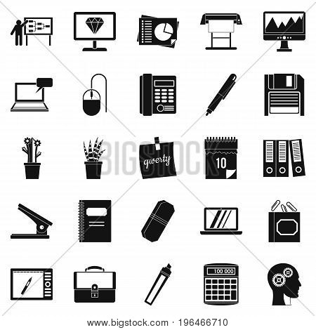 Office workers icons set. Simple set of 25 office workers vector icons for web isolated on white background