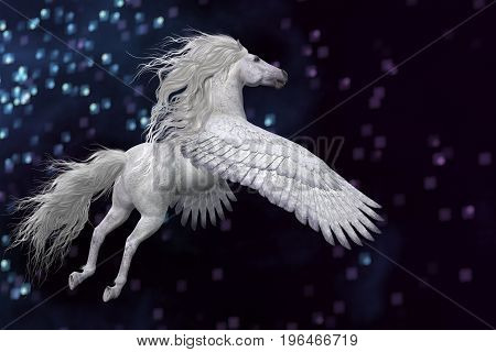 White Pegasus in Sky 3d illustration - Pegasus is a mythical white divine stallion with long flowing mane and tail rises into the sky with powerful wings.
