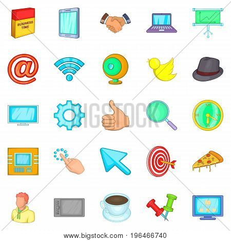 Team work icons set. Cartoon set of 25 team work vector icons for web isolated on white background