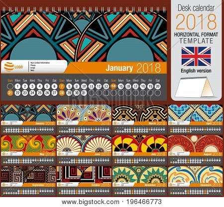Desk triangle calendar 2018 template with native rosettes design. Size: 22 cm x 12 cm. Format horizontal. Vector image. English version
