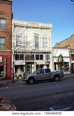PETOSKEY, MICHIGAN / UNITED STATES - NOVEMBER 22, 2016: One may purchase home furnishings, gifts and antiques at J.W. Shorter and Son Mercantile, on Lake Street in downtown Petoskey.