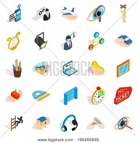 Office icons set. Isometric set of 25 office vector icons for web isolated on white background