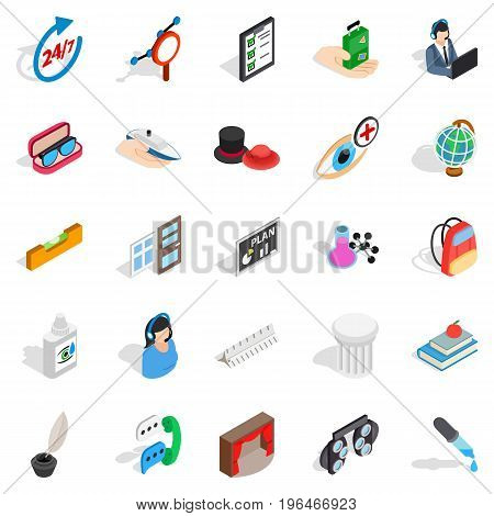 Office work icons set. Isometric set of 25 office work vector icons for web isolated on white background