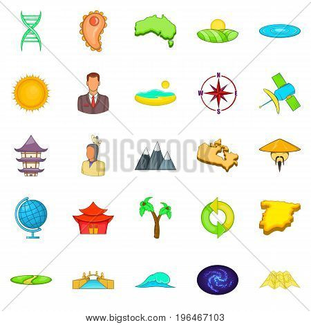 East Asia icons set. Cartoon set of 25 east asia vector icons for web isolated on white background