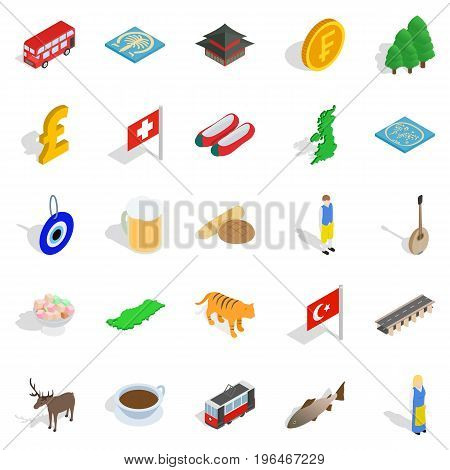 Central Europe icons set. Isometric set of 25 central europe vector icons for web isolated on white background
