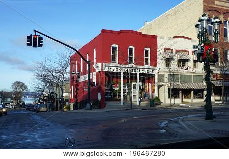 PETOSKEY, MICHIGAN / UNITED STATES - NOVEMBER 22, 2016: Symon's General Store offers specialty foods and wine, at the corner of Howard and Lake Streets in downtown Petoskey.
