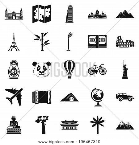 Trip icons set. Simple set of 25 trip vector icons for web isolated on white background