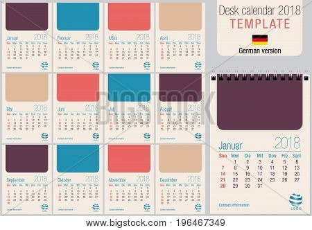Useful desk calendar 2018 template in pastel colors, ready for printing on laser or offset. Size: 150mm x 210mm. Format A5 vertical. German version
