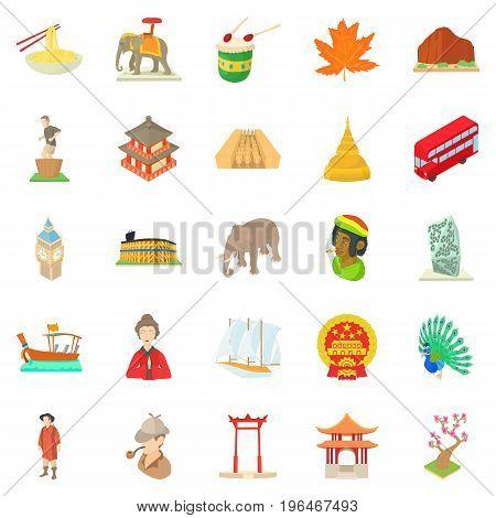 World habits icons set. Cartoon set of 25 world habits vector icons for web isolated on white background