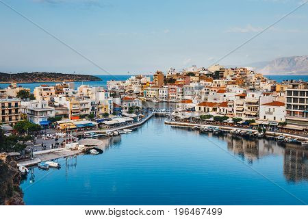 Agios Nikolaos, Crete, Greece - June 08, 2017: Agios Nikolaos Town At Summer Evening. Agios Nikolaos