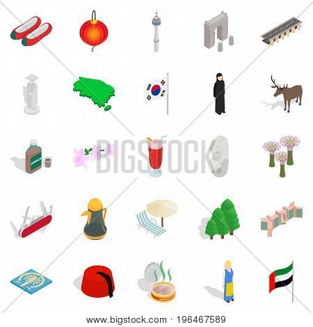 Far East icons set. Isometric set of 25 far east vector icons for web isolated on white background