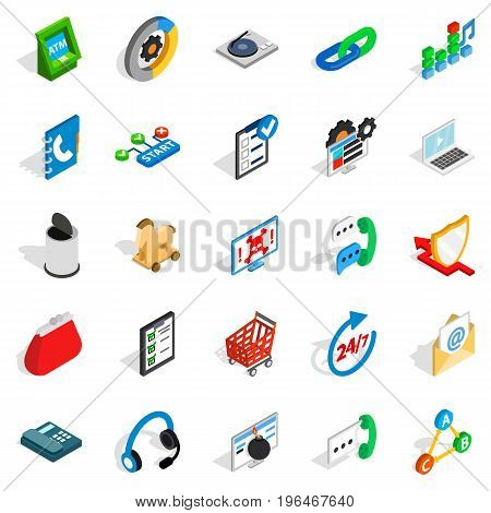 Support service icons set. Isometric set of 25 support service vector icons for web isolated on white background