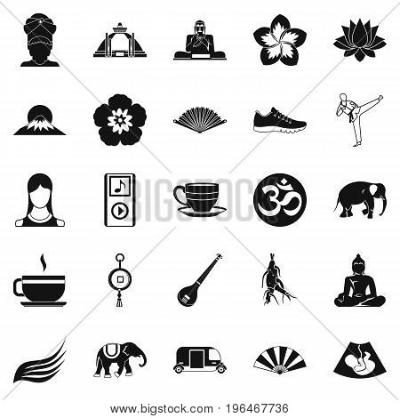 Japanese culture icons set. Simple set of 25 japanese culture vector icons for web isolated on white background