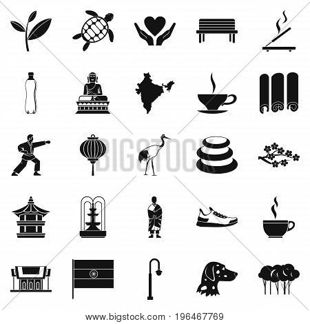 Martial arts icons set. Simple set of 25 martial arts vector icons for web isolated on white background