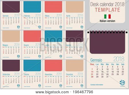 Useful desk calendar 2018 template in pastel colors, ready for printing on laser or offset. Size: 150mm x 210mm. Format A5 vertical. Italian version