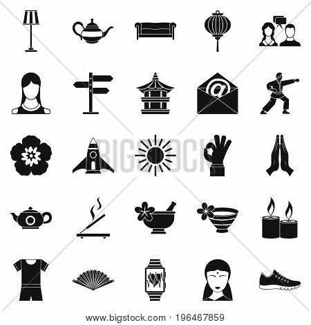 Asia icons set. Simple set of 25 asia vector icons for web isolated on white background