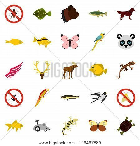 Asian animals icons set. Flat set of 25 asian animals vector icons for web isolated on white background
