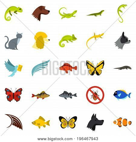 Tropical animals icons set. Flat set of 25 tropical animals vector icons for web isolated on white background
