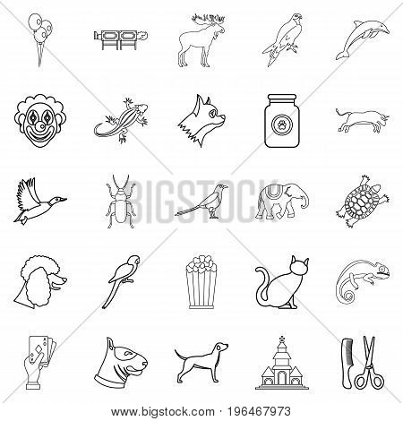 Animal icons set. Outline set of 25 animal vector icons for web isolated on white background