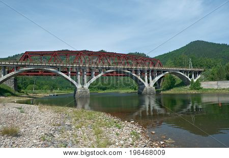 Circum-Baikal railroad . Railway bridge.  russian nature,
