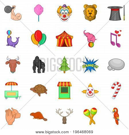 Zoo circus icons set. Cartoon set of 25 zoo circus vector icons for web isolated on white background