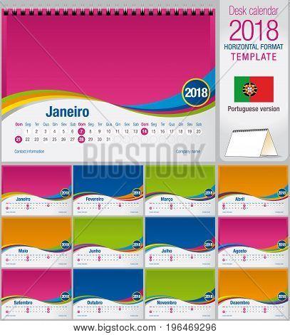Desk triangle calendar 2018 colorful template. Size: 210mm x 150mm. Format A5.  Vector image. Portuguese version