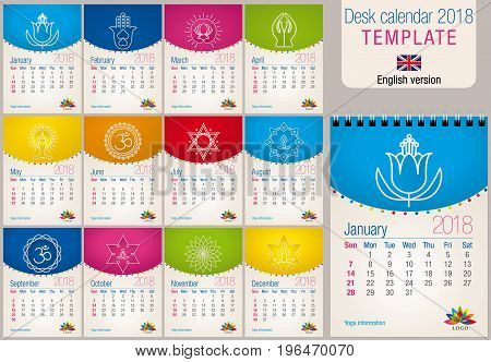 Useful desk calendar 2018 colorful template with yoga and reiki icons. Size: 150mm x 210mm. Format A5 vertical. English version