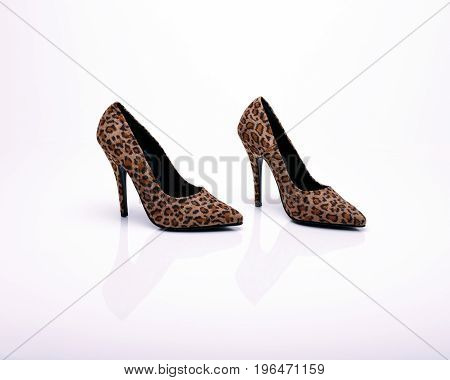 Leopard print high heels on a white background