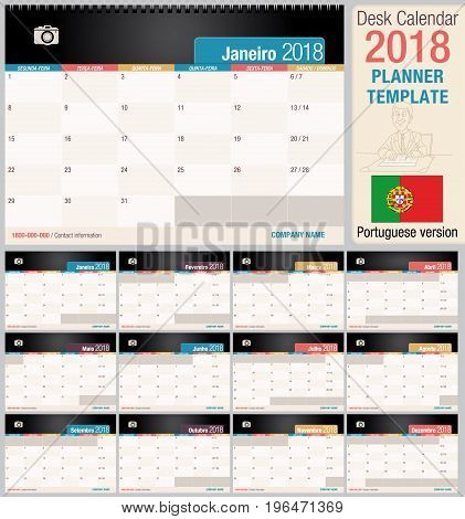 Useful desk calendar 2018 - Planner template. Format horizontal - Vector image - Portuguese version