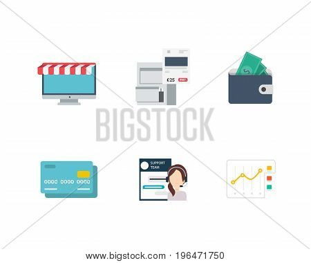 Set of the Business and Finance Vector Flat Icons. Includes Monitor, Archive, Wallet, Credit Card, Live Chat, and Analysis