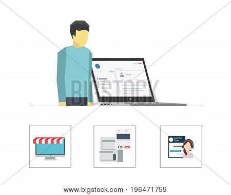 Vector Flat Illustration of a Man in Front of a Laptop with Three Icons Including Monitor as a Store, Live Chat and Financial Archive