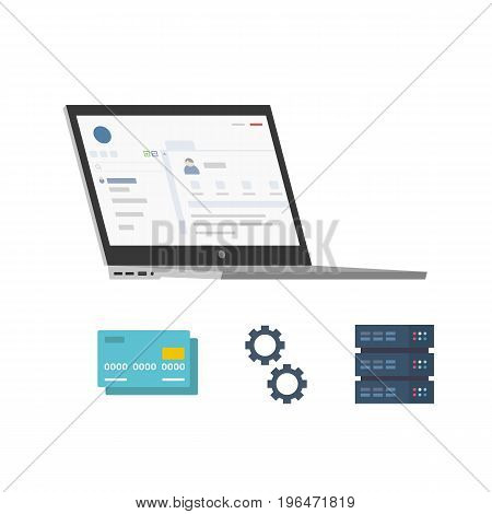 Vector Flat Illustration of a Laptop with Two Icons Including Credit Card and Dedicated Server