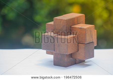 Business Teamwork Concept : Wooden Brain Teaser or Wooden Puzzles on white floor and green bush with sunlight background.