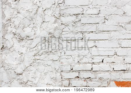 Old white brick wall texture background exterior