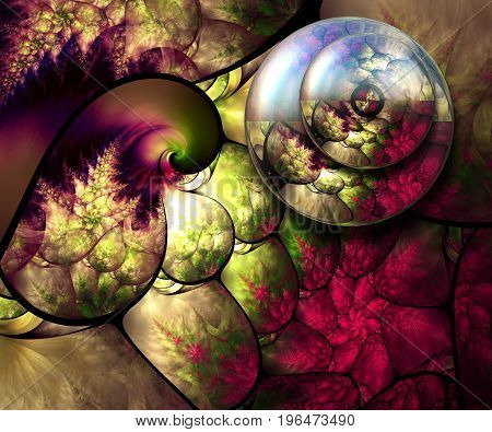 3D rendering combo artwork with fractal and fractal flower buttons