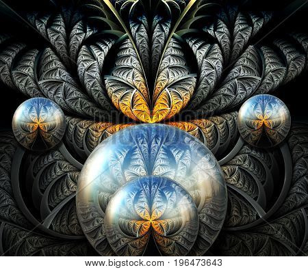 3D rendering combo artwork with fractal and dark fractal buttons