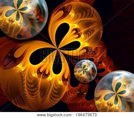 3D rendering combo artwork with fractal and fractal trio butterfly buttons