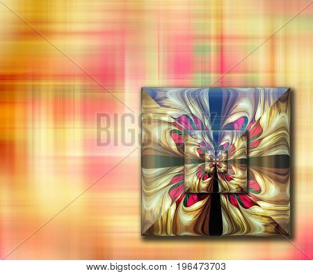 3D rendering combo artwork with fractal and fractal square button