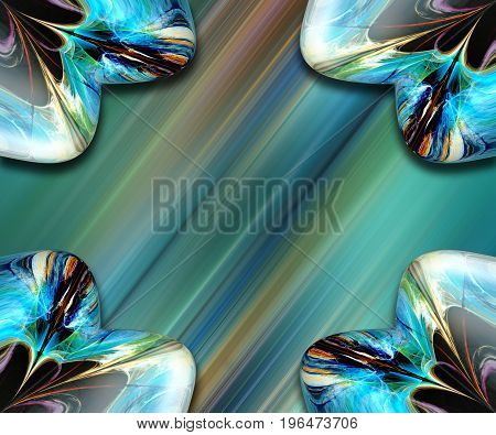 3D rendering combo artwork with fractal and fractal heart buttons