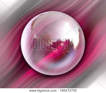 3D rendering combo artwork with fractal and fractal purple bulb button