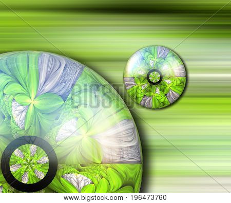 3D rendering combo artwork with fractal and fractal green duo buttons