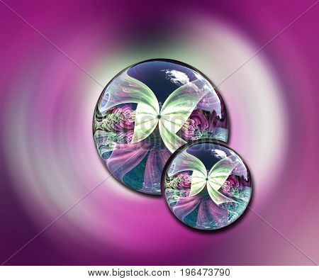 3D rendering combo artwork with fractal and fractal duo glossy buttons