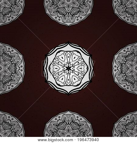 Classic vintage background. Classic vector white pattern. Traditional orient ornament. Pattern on brown and white background with white elements.