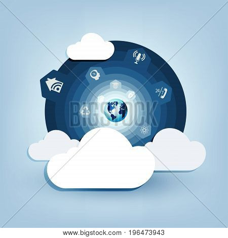 round blue design with a computer cloud wireless connection