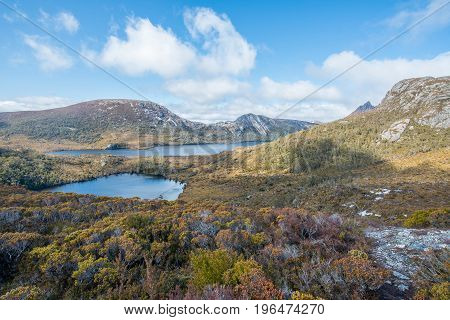 Lake Lila and Dove Lake view from the above of Wombat peak in Cradle mountain national park, Tasmania island of Australia. poster