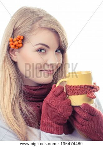 Vintage Photo, Happy Smiling Girl In Gloves With Cup Of Hot Tea Wrapped Scarf