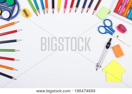 School And Office Accessories With Shape Of Building, Back To School Concept, Copy Space For Text On