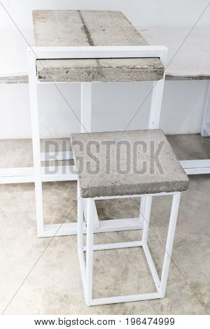 Applied furniture set of concrete panel stock photo